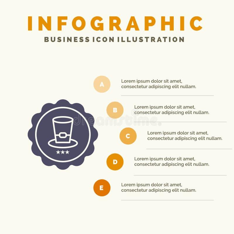 Exponeringsglas drink, tecken, för symbolsInfographics 5 för USA fast bakgrund för presentation moment stock illustrationer