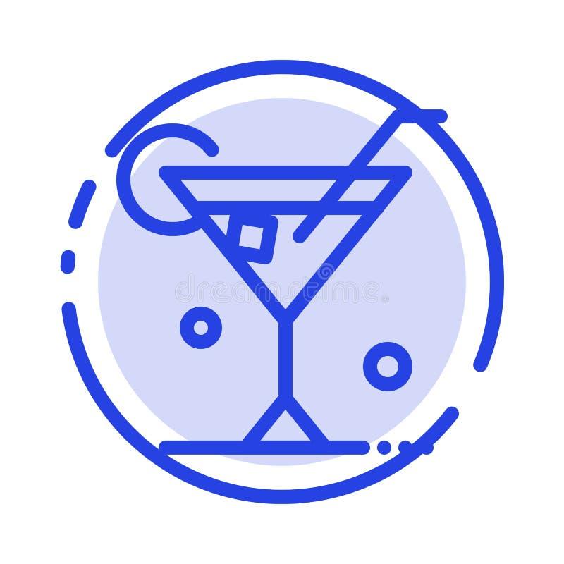 Exponeringsglas drink, vin, blå prickig linje linje symbol för vår royaltyfri illustrationer