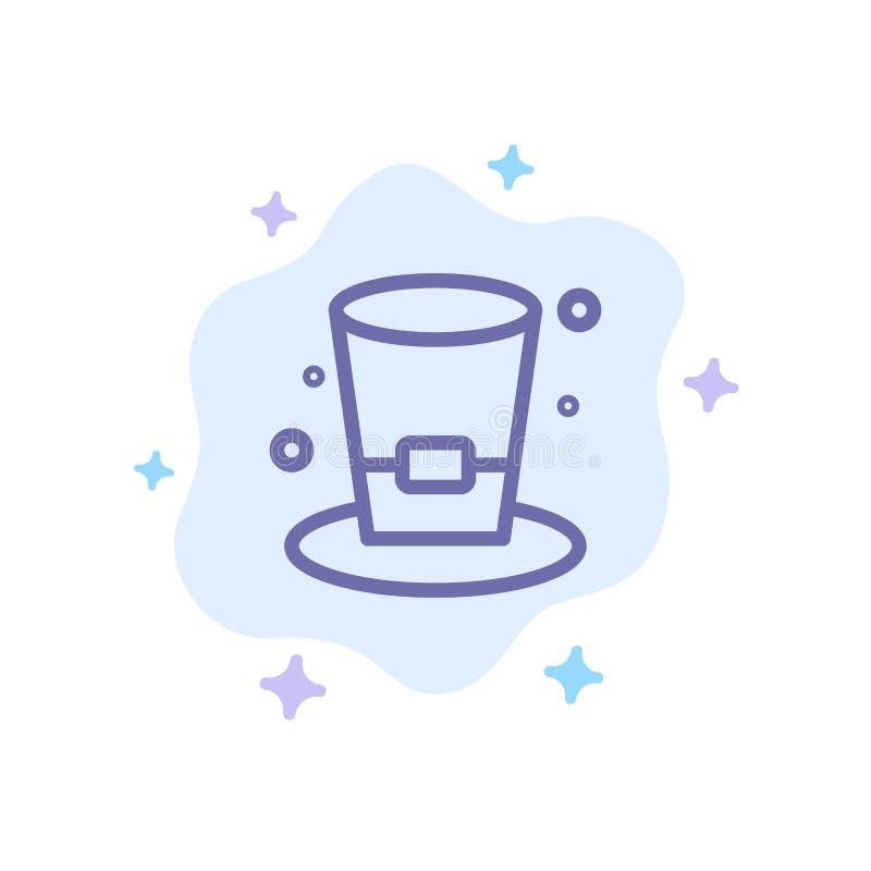 Exponeringsglas drink, vin, blå symbol för öl på abstrakt molnbakgrund stock illustrationer