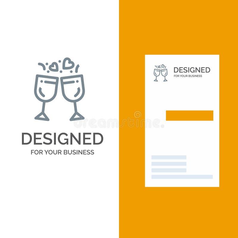 Exponeringsglas, förälskelse, drink, bröllop Grey Logo Design och mall för affärskort vektor illustrationer