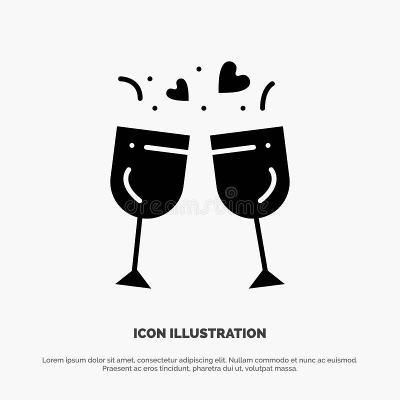 Exponeringsglas förälskelse, drink, för skårasymbol för bröllop fast vektor stock illustrationer