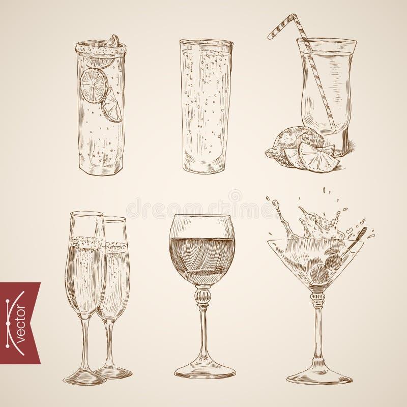 Exponeringsglas för alkohol för coctaillemonadvin som inristar tappning vektor illustrationer