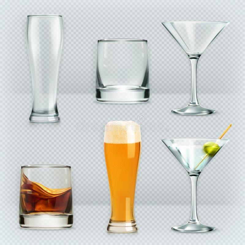 Exponeringsglas för alkoholdrinkar royaltyfri illustrationer