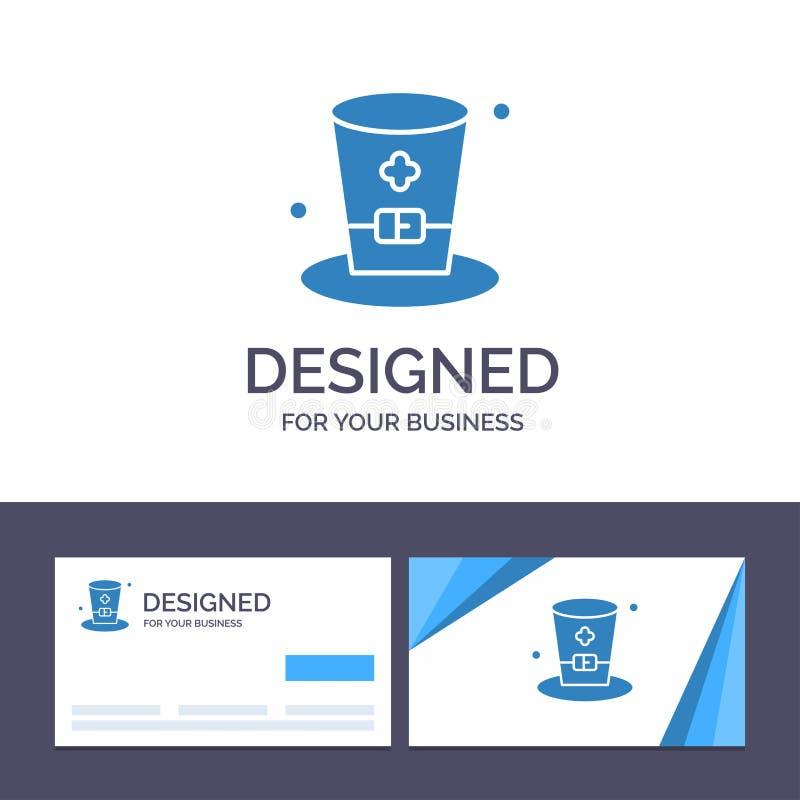 Exponeringsglas för idérik mall för affärskort och logo, drink, vin, Irland vektorillustration vektor illustrationer