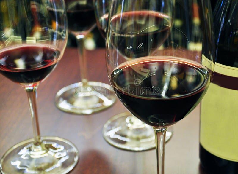 Exponeringsglas för vinavsmakning och rött vin, Piemonte, Italien arkivfoto