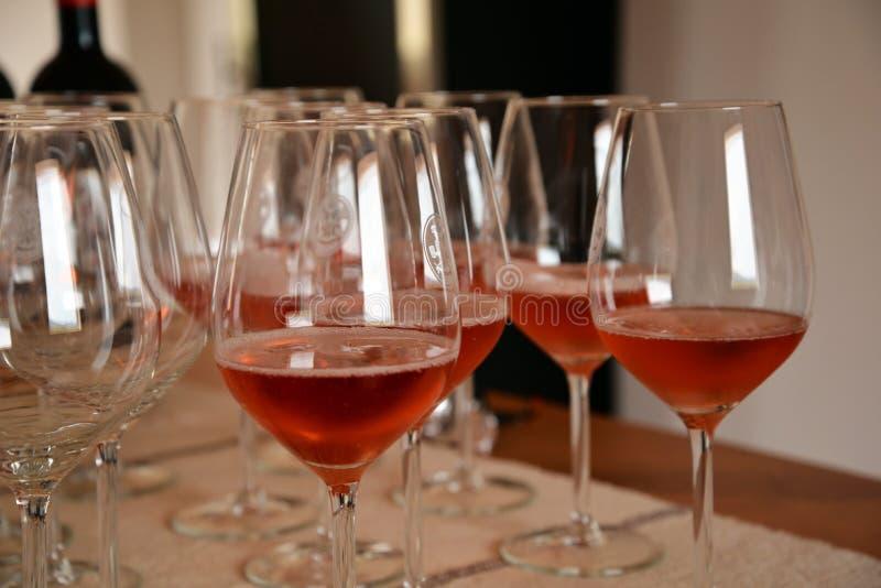 Exponeringsglas för vinavsmakning och steg vin, Sardinia, Italien royaltyfri foto