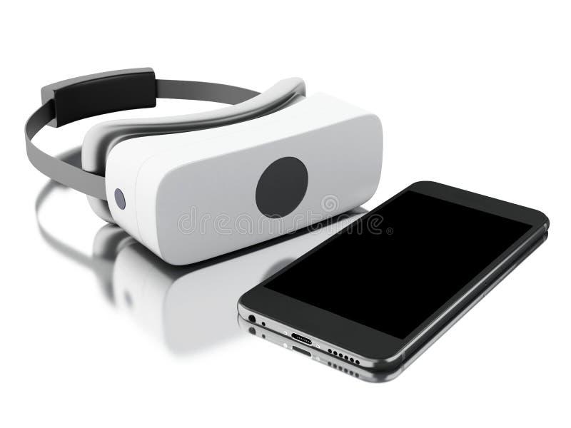 exponeringsglas för virtuell verklighet 3d med smartphonen royaltyfri illustrationer