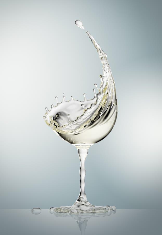 Exponeringsglas för vitt vin på grå bakgrund vektor illustrationer