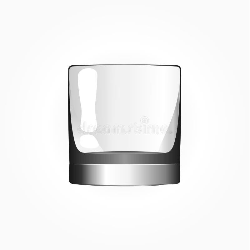 Exponeringsglas för whisky och is Exponeringsglas av kväv också vektor för coreldrawillustration royaltyfri illustrationer