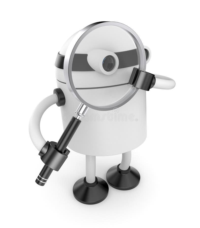 exponeringsglas förstorar roboten royaltyfri illustrationer
