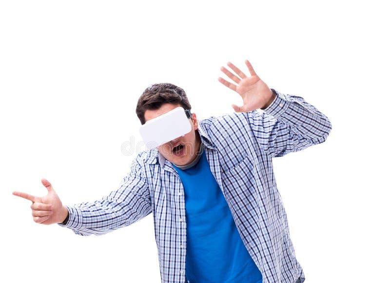 Exponeringsglas f?r virtuell verklighet VR f?r ung man b?rande fotografering för bildbyråer
