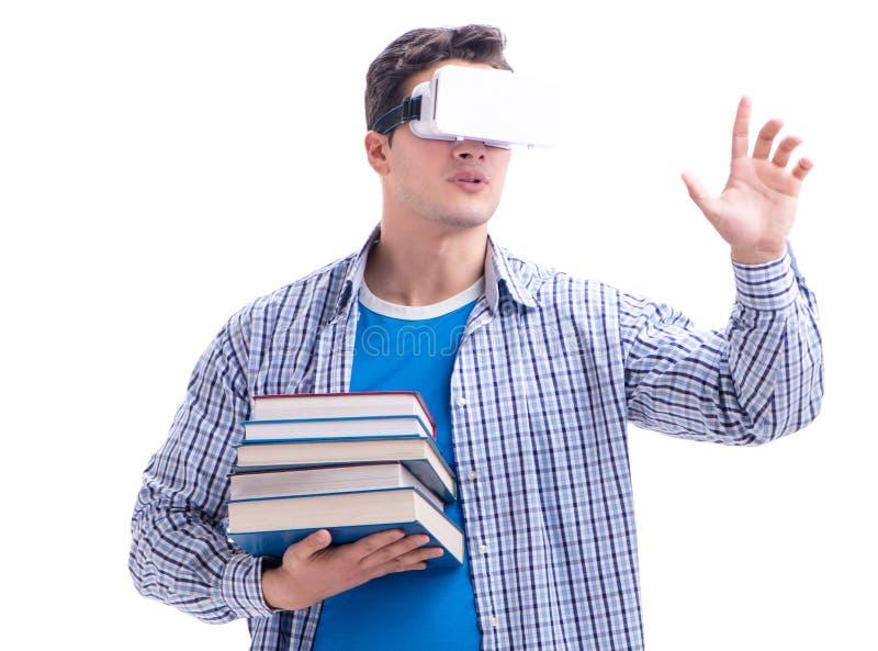 Exponeringsglas f?r virtuell verklighet VR f?r ung man b?rande royaltyfri fotografi