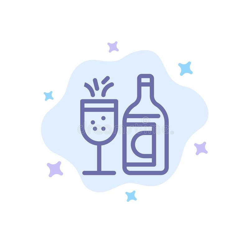 Exponeringsglas flaska, påsk, blå symbol för drink på abstrakt molnbakgrund royaltyfri illustrationer