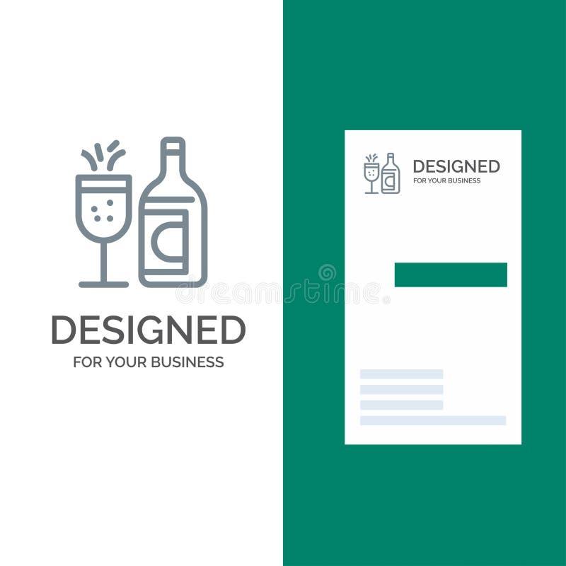 Exponeringsglas, flaska, påsk, drink Grey Logo Design och mall för affärskort royaltyfri illustrationer