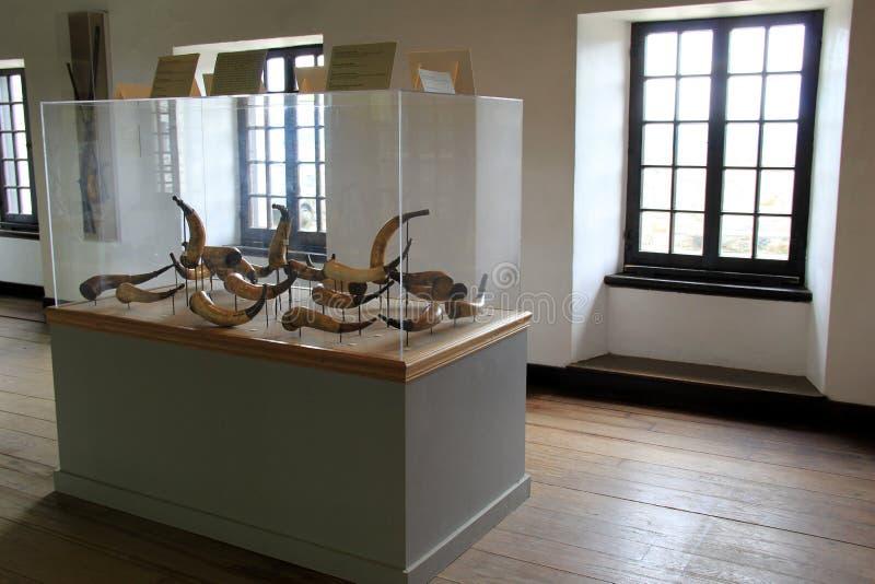 Exponeringsglas inneslutade skärm av historiska pulverhorn, fortet Ticonderoga, New York, 2014 arkivfoton