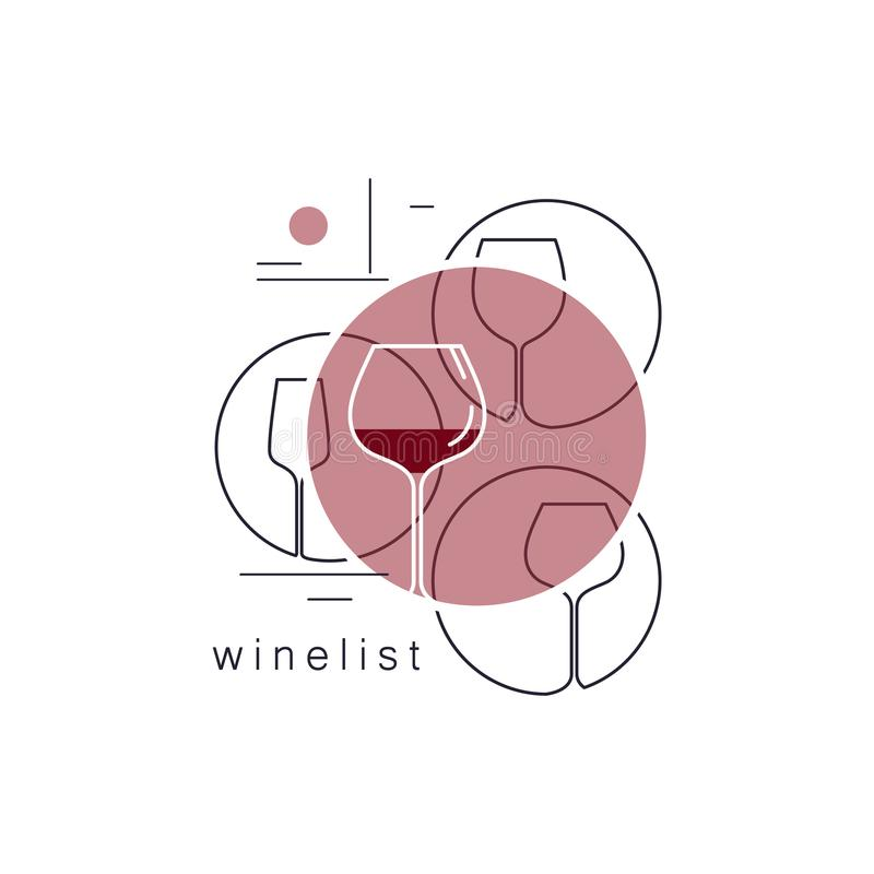 exponeringsglas inställd wine Linjära vektorsymboler vektor illustrationer