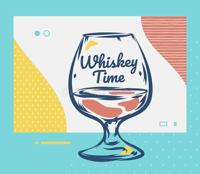 exponeringsglas isolerad reflexionswhiskeywhite För skotsk whiskyvektor för hand utdragen illustration royaltyfri illustrationer