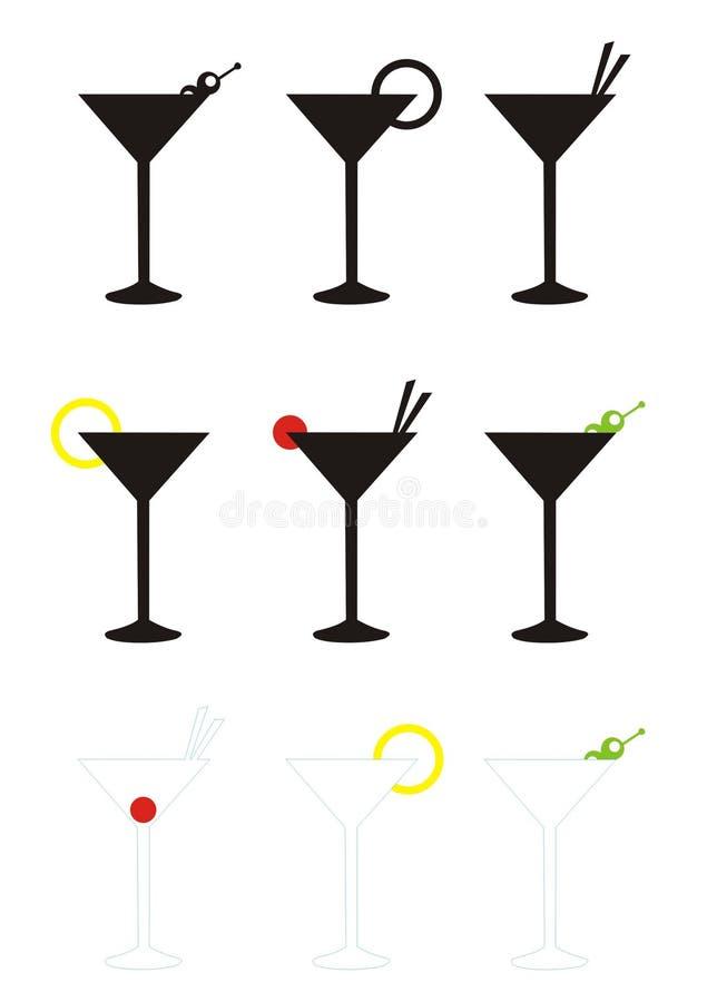 exponeringsglas martini royaltyfri illustrationer