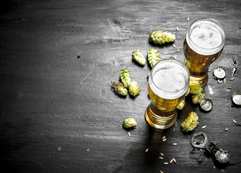 Exponeringsglas med öl- och gräsplanflygturer arkivfoto