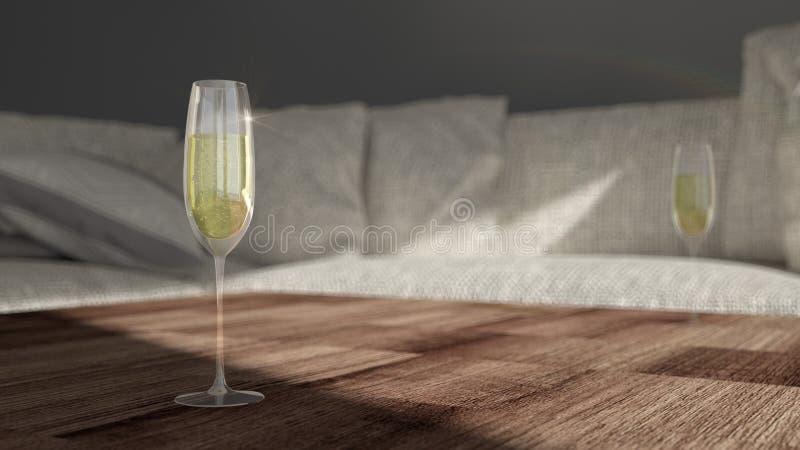 Exponeringsglas med champagne - modern vardagsrum arkivbilder
