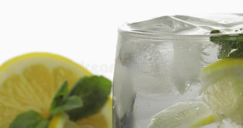 Exponeringsglas med en kall drink med sidor av mintkaramell-, limefrukt-, citron- och iskuber royaltyfria bilder