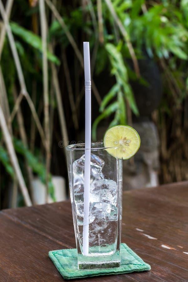 Exponeringsglas med iskuber och limefrukt på en tropisk bakgrund Bali ö royaltyfria foton