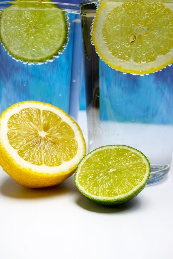 Exponeringsglas med kall mousserande mineralvatten, limefrukt och citronen fotografering för bildbyråer