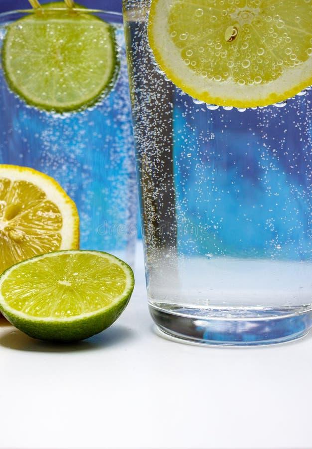 Exponeringsglas med kall mousserande mineralvatten, limefrukt och citronen royaltyfri foto