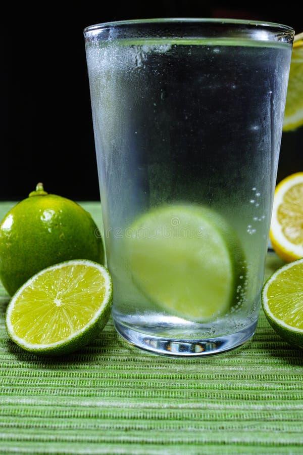 Exponeringsglas med kall mousserande mineralvatten, limefrukt och citronen arkivfoton