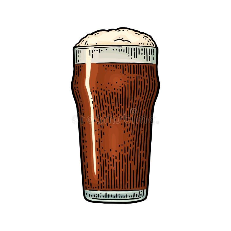 Exponeringsglas med kraftigt öl Gravyr för tappningfärgvektor vektor illustrationer