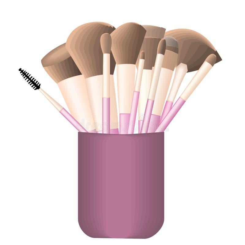 Exponeringsglas med makeupborstar vektor illustrationer