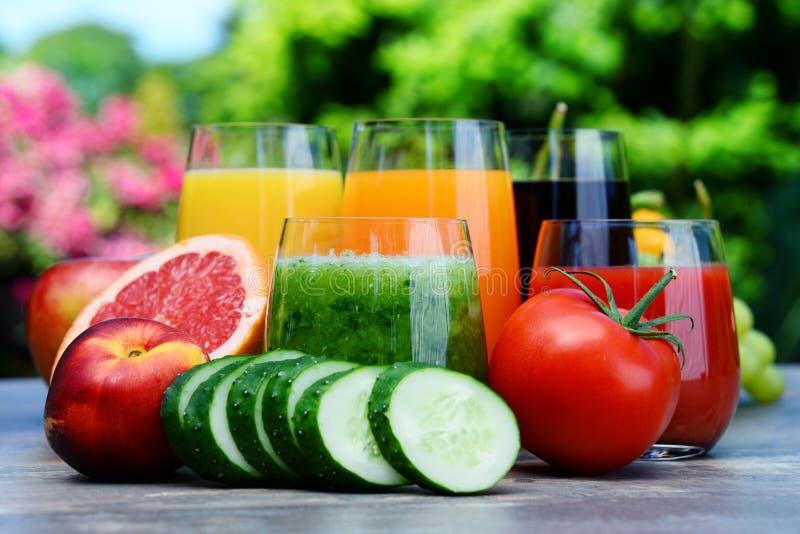 Exponeringsglas med nya organiska detoxfruktsafter i trädgården royaltyfri fotografi