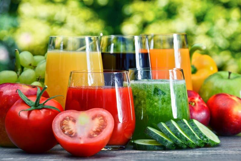 Exponeringsglas med nya organiska detoxfruktsafter i trädgården royaltyfri foto