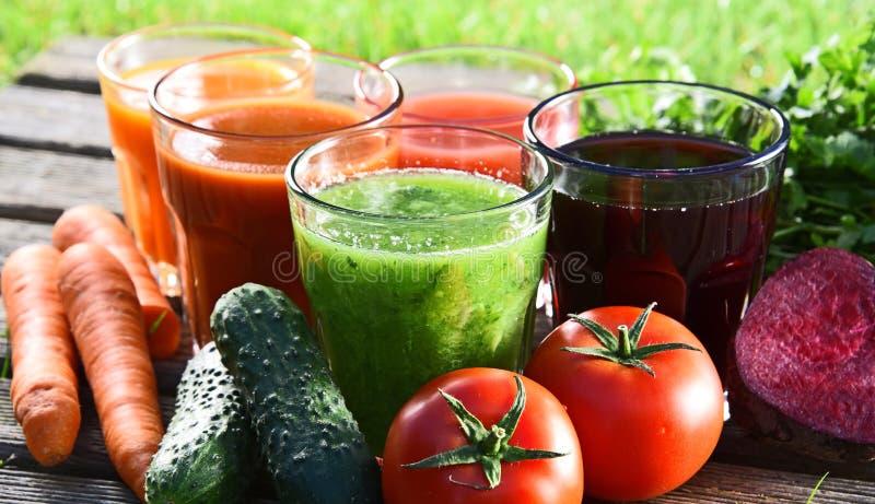 Exponeringsglas med nya organiska detoxfruktsafter i trädgården arkivfoton