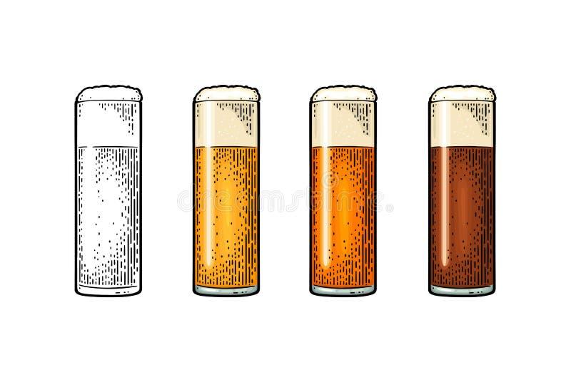 Exponeringsglas med olikt typöl - lager, öl som är kraftigt Tappningfärggravyr royaltyfri illustrationer