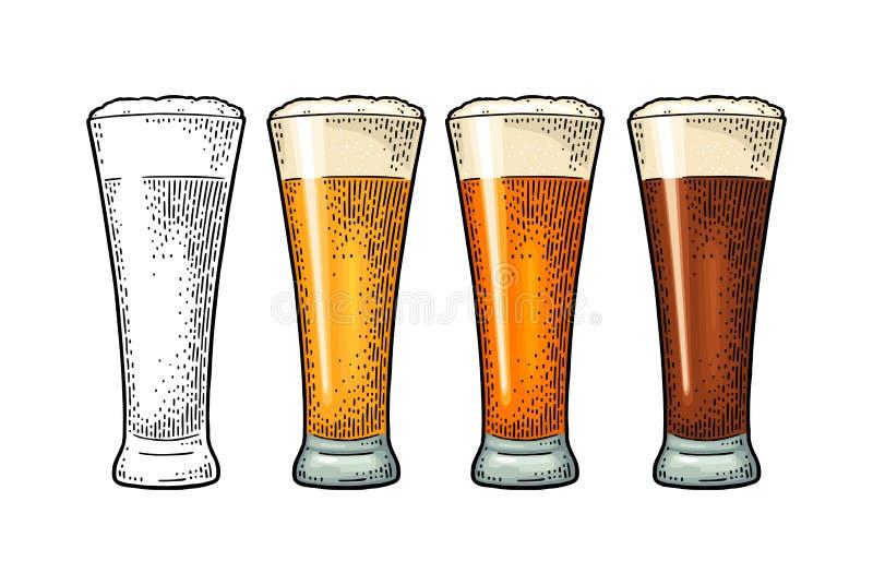 Exponeringsglas med olikt typöl - lager, öl som är kraftigt Tappningfärggravyr vektor illustrationer