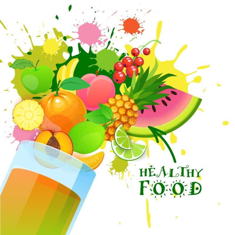 Exponeringsglas med organiska nya frukter och naturligt gårdsproduktbegrepp för sund mat royaltyfri illustrationer