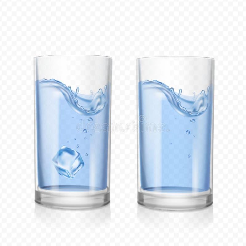 Exponeringsglas med vatten- och iskuben royaltyfri illustrationer