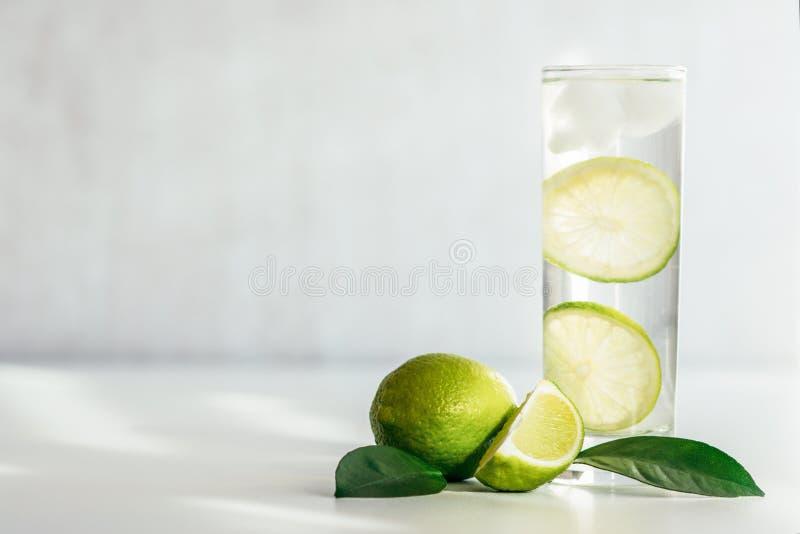 Exponeringsglas med vatten-, is- och limefruktskivor fotografering för bildbyråer