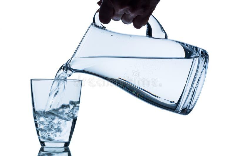 Exponeringsglas med vatten och tillbringaren royaltyfri foto