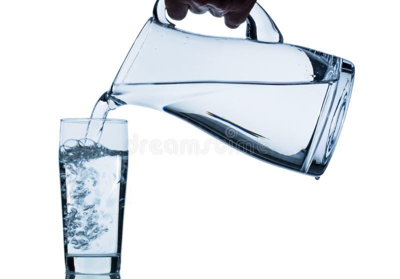 Exponeringsglas med vatten och tillbringaren royaltyfria bilder