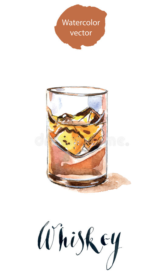 Exponeringsglas med whiskey och is royaltyfri illustrationer