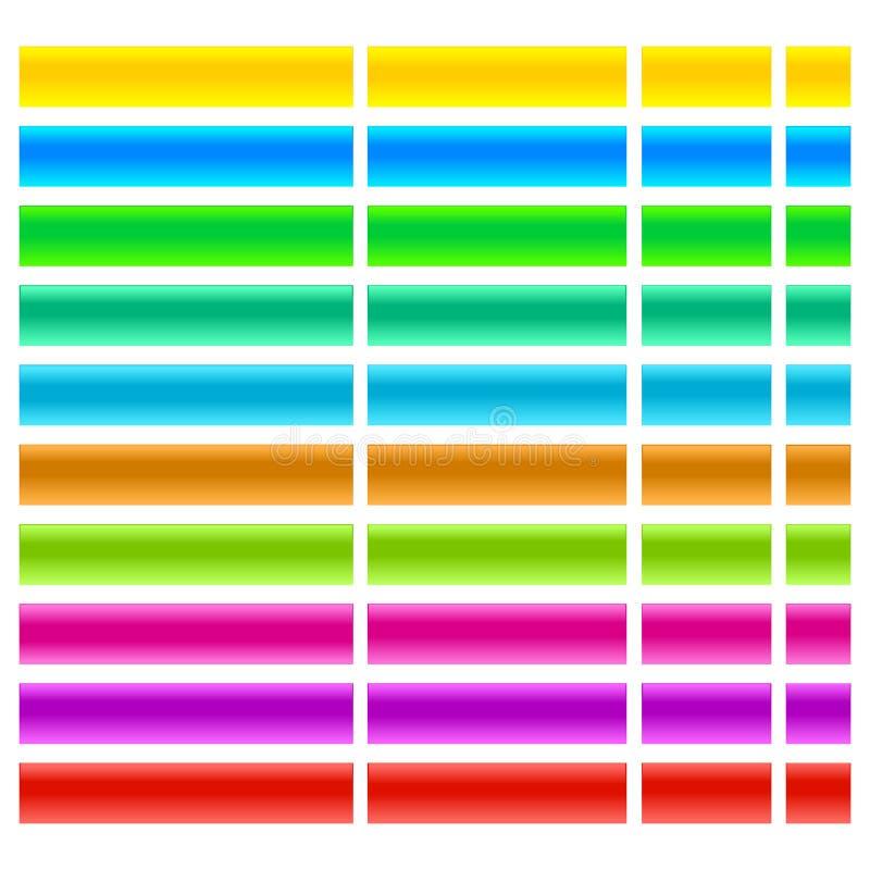 Exponeringsglas och att stelna uppsättningen för vektor för rengöringsdukknappillustration vektor illustrationer
