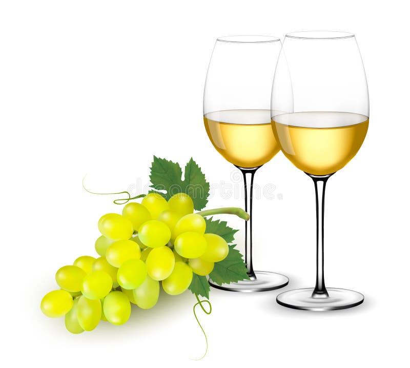 Exponeringsglas och druvor för vitt vin vektor illustrationer
