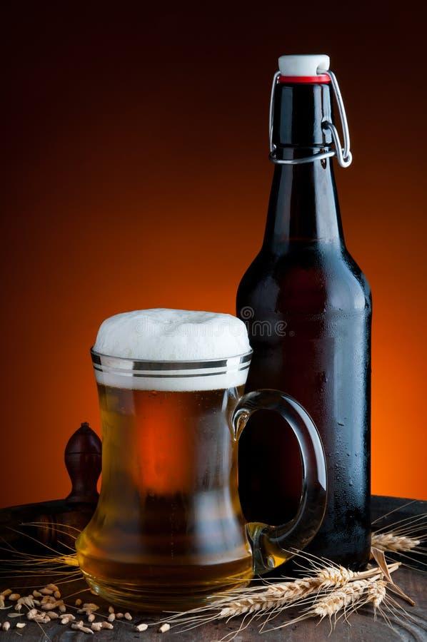 Exponeringsglas och flaska av öl arkivfoton