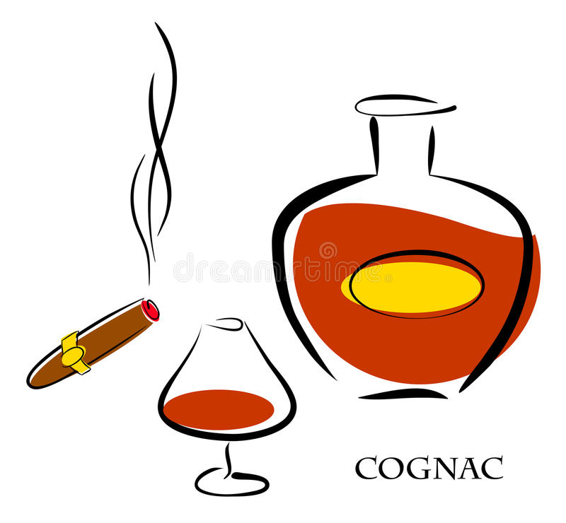 Exponeringsglas och flaska av lyxig konjak med den mest bra tobakcigarren stock illustrationer