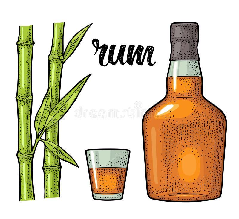Exponeringsglas och flaska av rom med sockerrottingen gravyr royaltyfri illustrationer