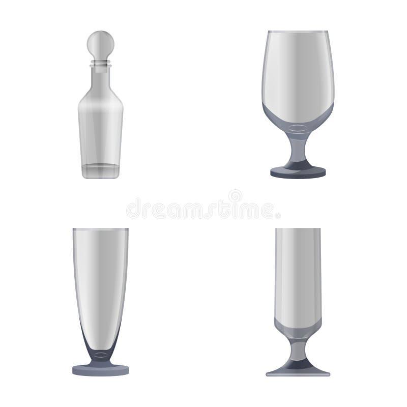 Exponeringsglas- och flasksymboler vektor illustrationer