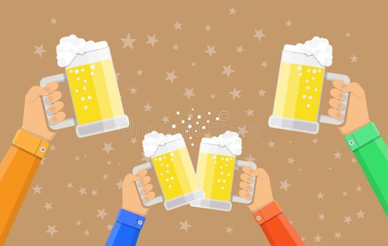 Exponeringsglas och klirra för öl för folk hållande royaltyfri illustrationer