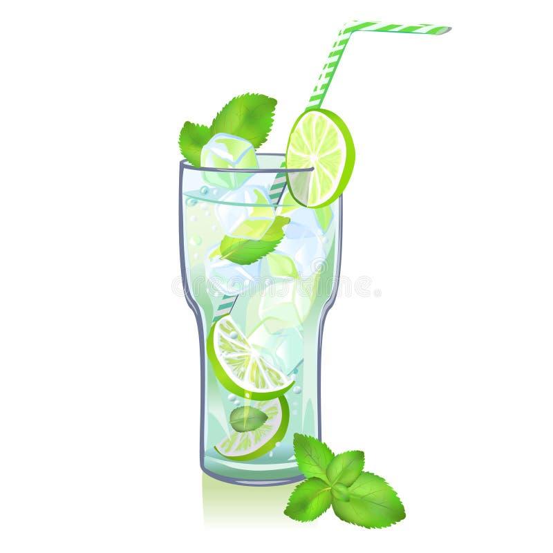 Exponeringsglas- och limefruktmojito vektor illustrationer